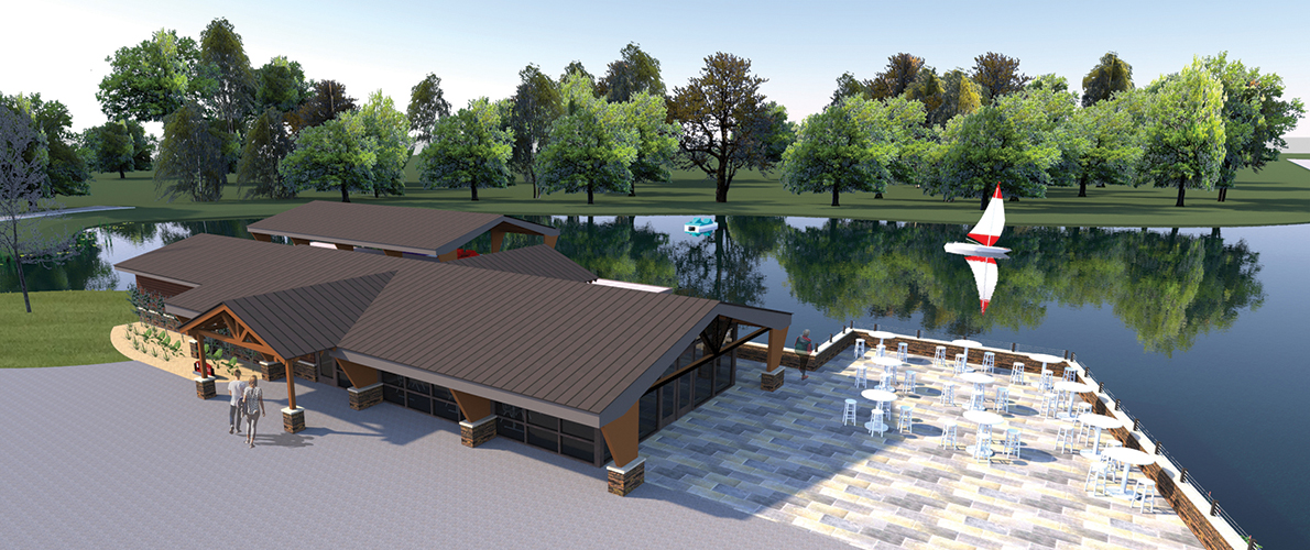 An artist's rendering of the renovated and expanded boat house and pavilion planned for Southern Illinois University Carbondale's campus lake.